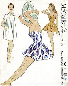 McCall 9711 1950s beachwear bathing suit playsuit vintage sewing pattern