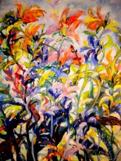 "Saatchi Art Artist Nada Sucur Jovanovic; Painting, ""Flowers  green yelou"" #art"