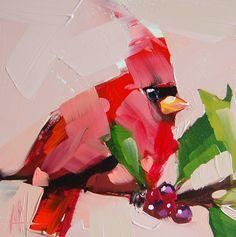Cardinal no. 135 original bird oil painting by Angela Moulton prattcreekart