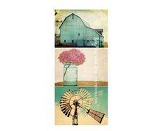 Aqua Country Series (3) 11x14 Gallery Wrapped Canvases Aqua Barn Pink Hydrangea Vintage Windmill Farmhouse Decor