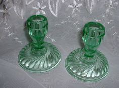The base has a swirl pattern to it 3 in diameter. Green Kitchen Accessories, Glass Candlesticks, Swirl Pattern, Vintage Green, Depression, Candle Holders, Glasses, Etsy, Beautiful