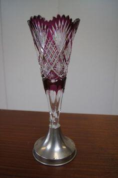Val St Lambert - Vase taillé, cristal clair doublé 'Violet-Évêque' - Catalogue 1908.