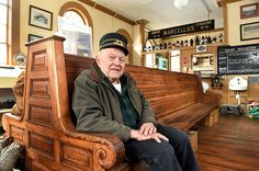 Al Kallfelz, president of the Central New York Chapter of the National Railway Historical Society in the waiting room at the Martisco Station Railway Museum.