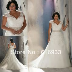 Free Shipping New Arrival A-Line V-Neck Sweep Train Cap Sleeve Plus Size Wedding Dress With Beadings PSD028 $131.46
