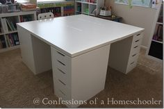 This one is perfect! Fits both girls and babies as they grow… Ikea Products + Innovation= Homeschool Desk This one is perfect! Fits both girls and babies as they grow… Ikea Products + Innovation= Homeschool Desk Craft Table Ikea, Craft Desk, Craft Room Storage, Room Organization, Craft Rooms, Ikea Work Table, Craft Tables With Storage, Ikea Storage, School Desks