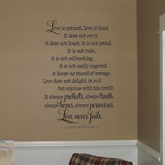 Love is patient, love is kind - wall words scripture verse vinyl home decor lettering graphic calligraphy old barn rescue company. $39.00, via Etsy.