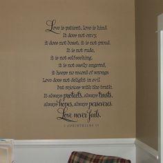 Love is Patient Love is Kind Vinyl Decal Wall Art Small | Vinyls ...