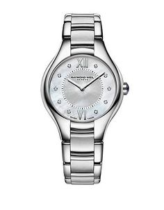 """The perfect timepiece for all of your formal, elegant occasions, this Raymond Weil watch shimmers with unmatched radiance. A graceful elongated stainless steel case and a round bezel illuminate a textured iridescent mother of pearl dial, set with two Roman numeral markers at """"12"""" and """"6"""" and diamond markers all around. Featuring a screwed case back and Swiss made Quartz movements, the design is finished with a sculptural silvertone link bracelet."""
