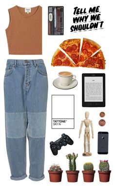 """""""MEG - monica e. geller"""" by directionerwithsass ❤ liked on Polyvore featuring Samuji, Sony and Baron Von Fancy"""
