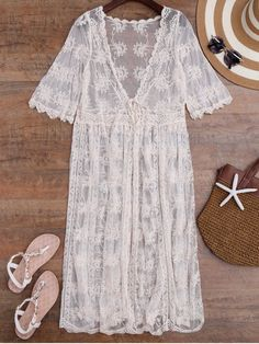 Tied Crochet Kimono Longline Cover Up - OFF-WHITE ONE SIZE