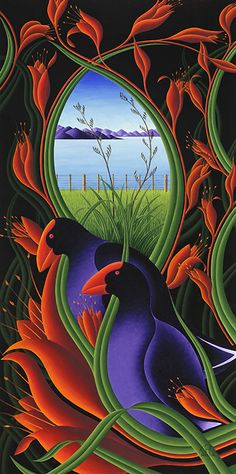 Takahe and Flax by NZ artist, Carl Skelton. Available as paper or canvas art-prints from www.imagevault.co.nz