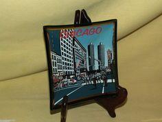 CHICAGO IL ILLINOIS BLACK SMOKED SMOKEY GLASS DISH PLATE GOLD SOUVENIR CITYSCAPE