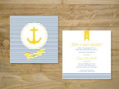 Faire-part garçon thématique marine | Birth Announcement boy sea