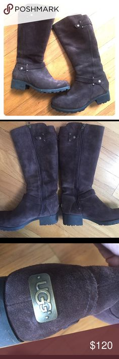 """UGG Jillian Tall Riding Boot!!! UGG Jillian Tall Riding boot. Fully shearing lined. Color is Mocha brown. Size US 7, EUR 38, worn once - don't fit. Full length side zipper for ease of on/off wear. Supple suede upper. Knee height. Approx. heel height: 1"""". Approx. boot height: 15.5"""" including heel/ 14 and 1/4"""" without. Equestrian riding boot style combined with classic UGG comfort. Very cute paired with jean or dress. Make me an offer!!! Bundle and save!! UGG Shoes Heeled Boots"""