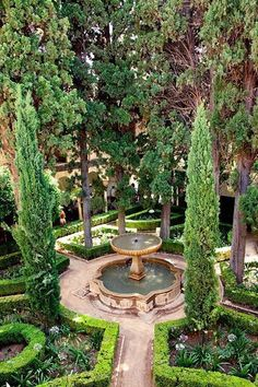 Our Tunis collection inspired by design at Alhambra, Spain. The formal and secluded courtyard gardens of the Moorish palace La Alhambra. Photo by Henri Lassande Formal Gardens, Outdoor Gardens, Courtyard Gardens, Formal Garden Design, Palace Garden, Design Jardin, Garden Fountains, Outdoor Fountains, Water Fountains
