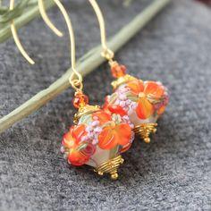 #Artisan #Handmade #Jewelry #Flower #Handmade #earrings #lampwork #flower #dangle #Drop #floral