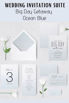 This fun yet elegant minimalist Wedding Invitation Set features Ocean Blue Watercolor design and it's a great idea for a beach wedding theme. Perfect for a sea-side, beach, summer destination wedding. This wedding stationery suite includes invitations, day-of pieces, reception items and favors tags and labels. Minimalist Wedding Invitations, Creative Wedding Invitations, Letterpress Wedding Invitations, Watercolor Wedding Invitations, Printable Wedding Invitations, Wedding Invitation Design, Invitation Suite, Wedding Stationery, Destination Wedding Favors