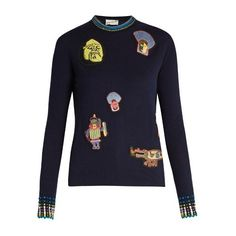 Peter Pilotto AMEX X Peter Pilotto + Francis Upritchard sweater (2.685 RON) ❤ liked on Polyvore featuring tops, sweaters, navy multi, navy polka dot sweater, navy blue top, dot sweater, navy sweater and intarsia sweater