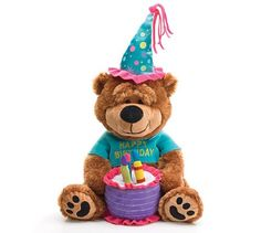 """Adorable Happy Birthday Teddy Bear With Cake That Plays """"Happy Birthday To You"""" - Colorful happy birthday bear. Cake plays """"Happy Birthday to You! All dressed up in his birthday finery with Happy Birthday printed on shirt. Free Birthday Gifts, Unique Birthday Cakes, Birthday Deals, Birthday Freebies, Birthday Songs, Singing Happy Birthday, Happy Birthday Quotes, Happy Birthday Wishes, Birthday Greetings"""