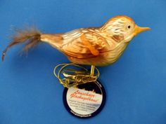 SPARROW CLIP ON BIRD GERMAN GLASS CHRISTMAS TREE ORNAMENT FELDSPATZ