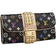 LOUIS VUITTON MONOGRAM MULTICOLORE COURTNEY CLUTCH M45640 -Large studded natural cowhide leather band -A zipped pocket with fittings for 6 credit cards -A golden brass lock -Practical interior layout -Carried in the hand -Monogram Multicolore is a creation of Takashi Murakami for Louis Vuitton