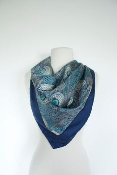 LIBERTY of LONDON Vintage Silk PEACOCK Scarf