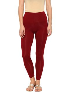 De Moza Ladies Leggings Ankle Length Solid Viscose Lycra Maroon  #fashion #discount #fashionblogger #womenstops #bloggerpost #legging #fashionlegging #goldlegging #demoza #longshrug