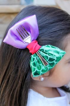 The Little Mermaid Hair Bow Ariel Hair Clip Disney by jenta2b