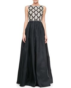Sleeveless Embroidered-Bodice Ball Gown by Naeem Khan at Bergdorf Goodman.