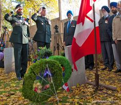 Wreath laying on behalf on the Canadian Forces by Brigadier General Matthew K. Overton, C.D., Director General Military Careers accompanied by Lt.-Col. Harjit Singh Sajjan, Commanding Officer British Columbia Regiment (Duke of Connaught's Own) at the 2011 Sikh Remembrance Day Ceremony sponsored by SikhMuseum.com