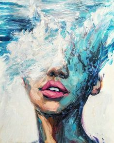 Philly's Young Artist, Lindsay Rapp, On Female Subjects, Crashing Waves And Owning Her Own Gallery - Kunst Malerei Texture Painting, Painting & Drawing, Paint Texture, Texture Art, Painting On Hand, Artist Painting, Wave Drawing, Sea Drawing, Simple Oil Painting