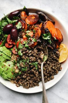 Easy mustard french lentils recepies lentil salad recipes, f French Vegetarian Recipes, Vegetarian Main Dishes, Vegetarian Entrees, Vegan Dinners, Lentil Salad Recipes, Veggie Recipes, Cooking Recipes, Healthy Recipes, Simple Recipes