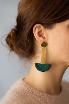 Hand-crafted minimalist jewelry by NookoftheNorth. Pairing both metal and dark green fabric to create the perfect statement earrings which are both contemporary and timeless. Statement Earrings, Drop Earrings, Fabric Earrings, Green Fabric, Minimalist Jewelry, Band, Metal, Contemporary, Create