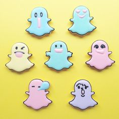 """Cute & Silly Pastel Snapchat """"Ghost"""" Cookies (Pic: @acornmilk._.sweets) ♡♥♡♥♡♥"""