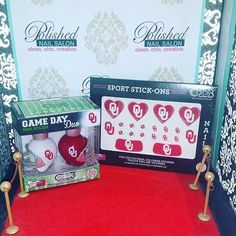 """Boomer..Sooner!  Swing by Polished to get you some #Oklahoma #Sooners face stickers and #nailpolish set for #GameDay #OUvsTexasWeekend #OUvsTexas #RedRiverRivalry #RedRiverShootout #Norman #OklahomaCity #Oklahoma  #OU #sooner #sooners #boomerSooner #UniversityOfOklahoma  #GameDayReady #CollegeFootball #football #soonerNation  #colorclubsports"" Photo taken by @polishednailsok on Instagram, pinned via the InstaPin iOS App! http://www.instapinapp.com (10/06/2015)"