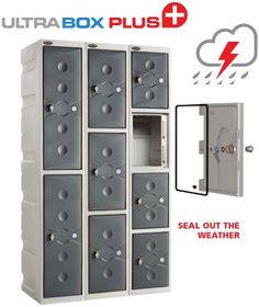 Ultrabox plastic lockers provide storage in style indoors or outside The Ultrabox Plus version has a weather proof door seal plug and lock gasket Plastic Lockers, Door Seals, Locker Storage, Catalog, Indoor, Cabinet, Furniture, Home Decor, Interior