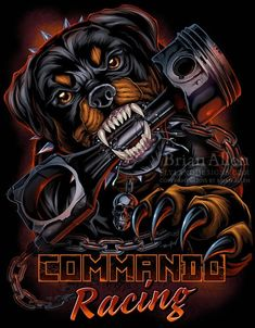 Digitally painted illustration of an angry Rottweiler taking a bite out of a big Piston for the racing brand Commando Racing Gear. Mascot Design, Logo Design, Graphic Design, Angry Wallpapers, Pitbull Drawing, Chica Gato Neko Anime, Rottweiler Love, German Rottweiler, Rottweiler Training