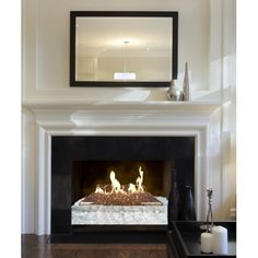 The RealFyre Fyre Glass Luxury Contemporary Gas Set is a modern alternative to gas logs that will bring your fireplace to the height of opulence! Fireplace Damper, Vented Gas Fireplace, Fireplace Mirror, Fireplace Inserts, Fireplace Surrounds, Glass Fronted Gas Fire, Fire Glass, Glass Shield, Gas Logs