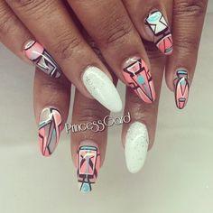 Nail art☻ Gorgeous Nails, Love Nails, My Nails, Almond Nails Designs, Nail Designs, Nail Treatment, Finger Painting, Stiletto Nails, Nails Inspiration