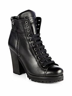 We're a long way for winter but these are stylish and look sturdy for snow. Prada Leather Lace-Up Ankle Boots