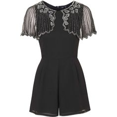 **Jodie Embellished Playsuit by TFNC ($73) ❤ liked on Polyvore featuring jumpsuits, rompers, grey, grey romper, tfnc e playsuit romper