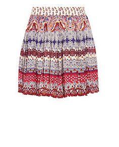 White Abstract Print Skater Skirt  | New Look