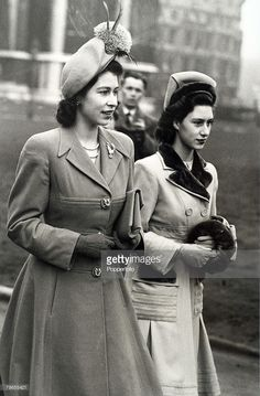 royalhats: British Royalty, London, England, 10th February 1948-Princess Elizabeth and Princess Margaret arrive at St, Margarets, Westminster for a society wedding.