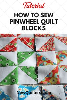 Learn how to sew the easy and festive pinwheel quilt block -- a great choice for baby or holiday quilts.Close-up of pinwheels Beginner Quilt Patterns, Quilting For Beginners, Quilt Block Patterns, Quilting Tutorials, Quilting Designs, Block Quilt, Triangle Quilt Tutorials, Quilt Blocks Easy, Quilting Tips