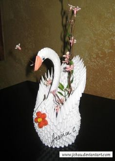 3D Origami White Swan with Flowers by jchau on DeviantArt