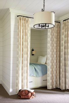 T.S. Adams Studio, Architects designed this refined lake house that provides a relaxing retreat on Lake Burton, Georgia. Alcove Bed, Bed Nook, Bedroom Nook, Bedroom Decor, Master Bedroom, Bedroom Ideas, Girls Bedroom, Master Suite, Bedroom Curtains