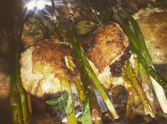 Provolone and Asparagus Stuffed baked Chicken