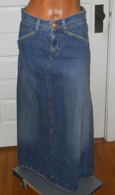 awesome Size 24 Women Midi Modest Stretch Denim Jean Skirt from ...