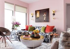 Boston-based designer Dane Austin designed this apartment with a bold color palette and energetic patterns. Credit: Photo by Sean Litchfield West Elm Floor Lamp, West Elm Desk, Boston Apartment, Expandable Dining Table, Living Room Colors, Living Rooms, Apartment Living, Living Spaces, New England Homes