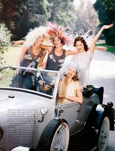 Harper's Bazaar US February 1992 Garden Party Photographer: Patrick Demarchelier Models: Shalom Harlow, Susan Holmes, Tajana Patitz, Shiraz Tal